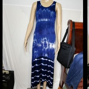 Monteau sleeveless blue tie dye maxi dress